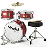 Mendini By Cecilio Kids Drum Set - Junior Kit w/ 4 Drums (Bass, Tom, Snare, Cymbal), Drumsticks, Drummer Seat - Beginner Drum Sets & Musical Instruments