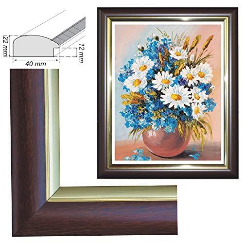 RAABEC Bilderrahmen, für Bilder der Größe 40x50cm, Farbe Braun Gold, ideal für Malen nach Zahlen Bilder von Schipper oder Ravensburger (ohne Glas)