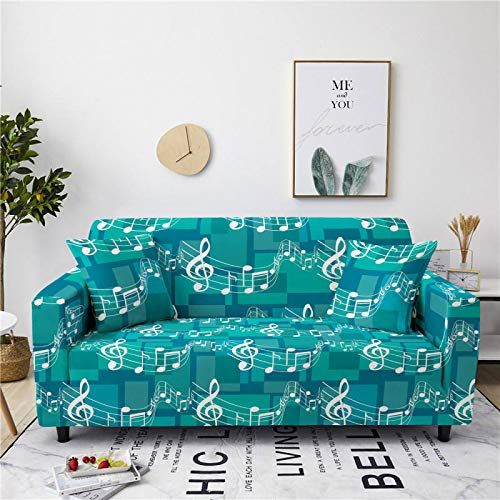 Universal Sofa Cover Spandex Stretch Couch Slipcover Blue Musical Note Pattern Tight Fitted Armchair Loveseat Settee Cover 1/2/3/4 Seater Sofa Protector,3,seater 190,230cm