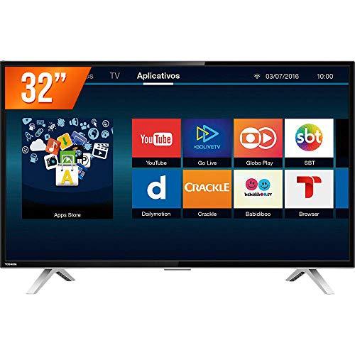 Smart TV LED 32' HD com Wi-Fi Integrado, Toshiba, Preto