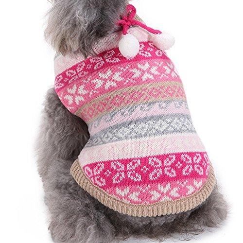 YZBear Hundepullover Welpen Warm Weihnachten Schneeflocke Pullover Mantel Pet Kleidung Bekleidung - 4