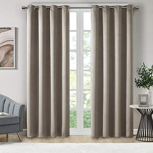 Illuminology Blackout Curtains for Bedroom | Thermal Insulated Room Darkening Window Treatments W/ Grommet Top | Triple Weave | Ideal for Nursery Or Kids Room | Beige 42x63- 2 Panels