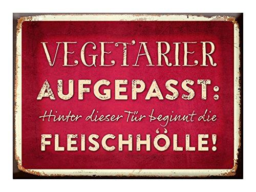 Grafik-Werkstatt Kühlschrank Magnet mit lustigem Spruch| Vintage Art | Nostalgie |Dekoration | Geschenk | Fleischhölle