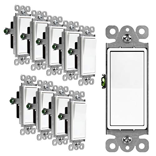 ENERLITES Decorator Paddle Rocker Light Switch Single Pole 3 Wire Grounding Screw Residential Grade 15A 120V/277V UL Listed 91150W10PCS White 10 Pack