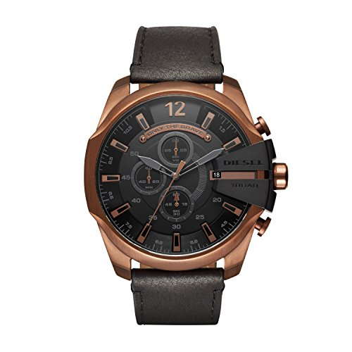 Diesel Men's Mega Chief DZ4459 Black Leather Japanese Quartz Dress Watch