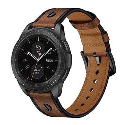 Cuero Clasico Correas Compatible con Samsung Galaxy Watch 1/3 Correa 45/46mm Piel Pulseras Brazaletes Bandas con Hebilla Reemplazo Reloj Watch Bands,Coffee,45/46MM