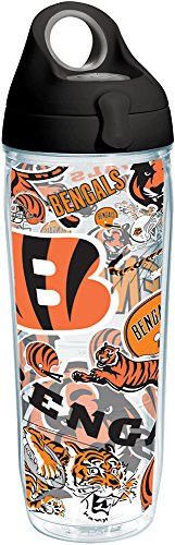 Tervis NFL Cincinnati Bengals All Over Tumbler with Wrap and Black with Gray Lid 24oz Water Bottle, Clear