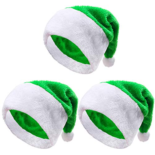 Aneco 3 Pack Christmas Green Santa Hat with White Pompom for Party Supplies