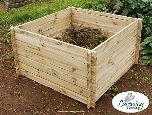 Lacewing Large 893 Litres Garden Outdoor Wooden Compost Bin Composter with Traditional Slated Design Allows Airflow into the Compost Recycling Root Grass Turn to Natural Compost