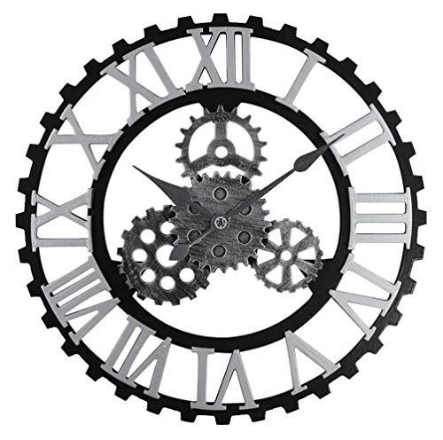 Ybzx Vintage Industrial Gear Wanduhr, 3D Gear Holzrahmen Retro Steampunk Art Wanduhr Silent Non-Ticking Wanduhr Rustikale Antik Silber Dekor Home Geschenk, RomanNumerals, 15.7 ''