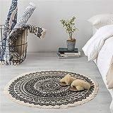 Unbekannt Marokko Runden Teppich Schlafzimmer Boho Stil Quaste Baumwolle Teppich Handgewebte...
