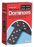 Pressman Toy Double Six Wooden Dominoes, 28 Pieces Wooden Dominoes Six, 5'
