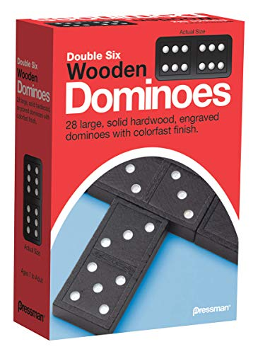 Pressman Toy Double Six Wooden Dominoes 28 Pieces