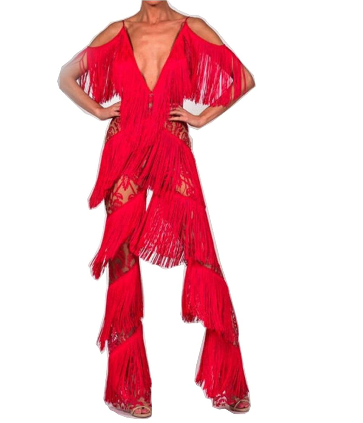 Miss ord Women Sexy Fashion Tassel Sleeveless Party Club Cocktail Maxi Jumpsuit