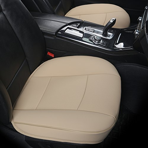 EDEALYN Ultra-Luxury PU Leather Car seat Protection Cover Car seat Cover for Most Four-Door Sedan&SUV,Single seat Cover Without backrest 1pcs (W 20.8× D 21× T 0.35inch) (3D-Beige)