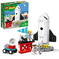 This educational space rocket toy for toddlers features a buildable space shuttle with an opening body, wheels that turn, and a movable ladder Includes male and female astronaut toy figures & a rover with turning radar on top and wheels, for all pres...