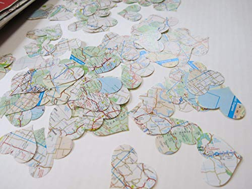 Vintage USA Road Map Heart Confetti Travel Theme Party Table Scatter 200 Piece