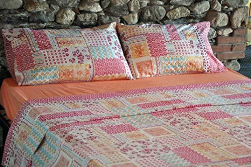 Bassetti - Juego completo de sábanas para cama de plaza y media, sábana encimera de 180 x 280 cm, sábana bajera con esquinas de 125 x 200 cm y una funda de almohada de 50 x 80 cm, de algodón