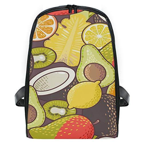 FANTAZIO Mochila de viaje con patrón de frutas exóticas Slim Durable Mochila de jardín de infantes Escuela de Niños Bolsa