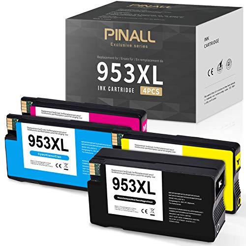 PINALL 4 Cartuchos de Tinta Compatibles con HP 953 XL 953XL para HP Officejet Pro 8720 8710 8725 8715 7720 8730 8740 7740 8210 8718 8719 8218 (1Negro/1Cian/1Magenta/1Amarillo)