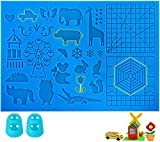 3D Pen Mat, Large Double-Sided Design 3D Printing Mat with 2 Finger Protectors, Great 3D Pen Accessories for 3D Pen, 3D Pen Drawing Tools for Kids, Adults, Best Birthday Holiday Gift