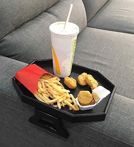CLEVER BEAR - Supporto per bracciolo da divano, per bracciolo e tavolo, con supporto per snack (nero)