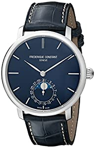 Frederique Constant Men's FC705N4S6 Slim Line Analog Display Swiss Automatic Blue Watch image