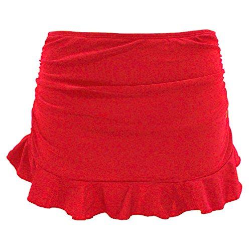 SHEKINI Jupe de Bain Femme Bas De Maillot Jupette Bikini avec Shorts de Bain intégré et Volants froncés Summer Beach Bikini Skirt Bottom pour Femme Maillots De Bain (X-Large, Rouge)
