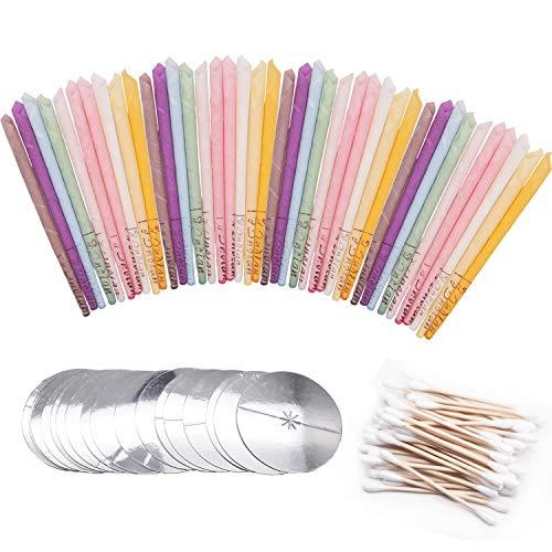 40 Pcs Bougies d'oreille,Bougies auriculaires- Cônes de Bougies en Cire d'Abeille avec Disques de Protection Pour le Soin des Oreilles