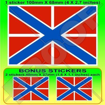 Russe Naval Jack Drapeau Russie 10,2 cm Bleu marine (100 mm) en vinyle Bumper Sticker, autocollant x1 + 2 Bonus