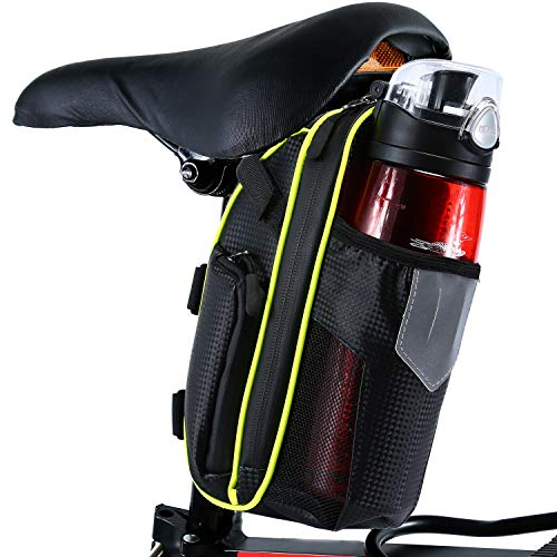 Selighting Borsa da Sella Impermeabile Sacchetto Posteriore Telaio da Bici Sedile con Tasca Porta-Borraccia per Ciclismo/MTB/Bici 1,8L (Verde)