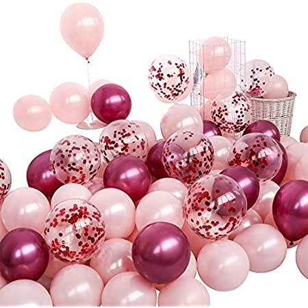 YANROO Pearl Pink Latex Balloons/& Gold Confetti Balloons 50pcs 12 Inch Balloon Set for Baby Shower Bridal Shower Birthday Decorations Wedding As Party Supplies