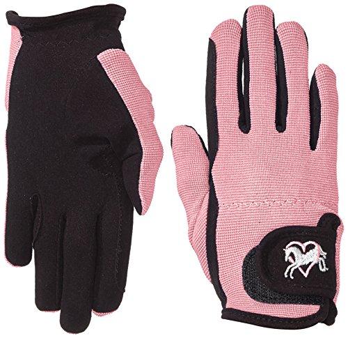 Riders Trend Damen Reiter Handschuhe Reithandschuhe Amara Palm mit Elastan-Material Atmungsaktive, Black/Pink, CS
