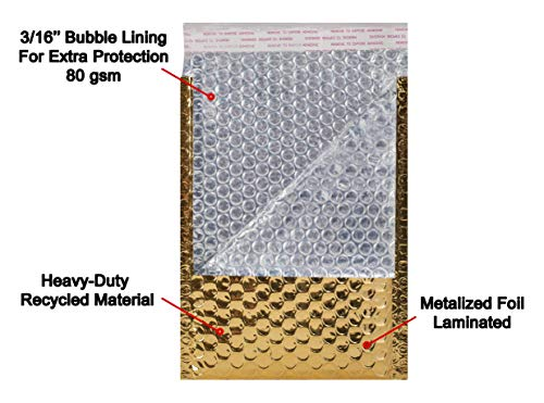 AMZ Bubble Mailers 5 x 9 Pack of 25 Gold Padded Envelopes 5x9. Self-Adhesive Closure. Metallic Shipping Bags for Mailing, Packing #00 25 Pack Photo #7