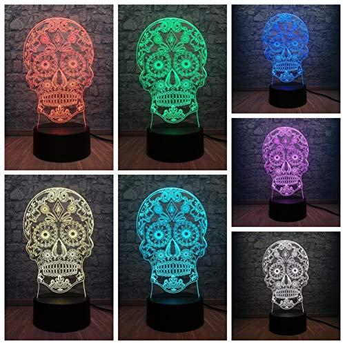 Blume Schädel Kopf 3D LED USB Lampe Terror Thema Party Dekoration Scary HalloweenGeschenk Horrible Atmosphäre Farben Ändern Birne