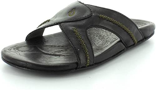 OluKai OluKai OluKai Overland Sheepskin CO Hommes's Mea Ola Leather Slide Sandals 0c3