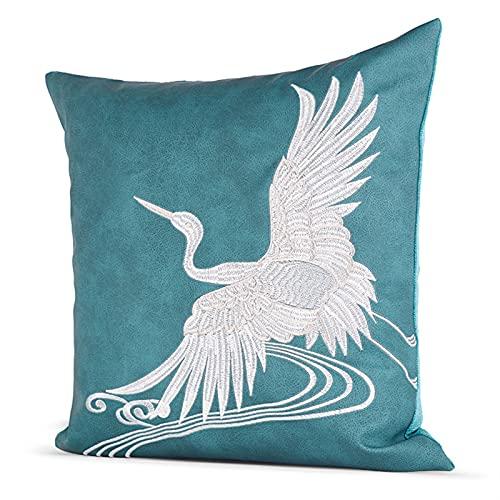 HOUMEL Cubiertas de cojín Decorativas Azules y Blancas Cubiertas de Almohada de patrón de grúa Bordada Hechos a Mano con Relleno para Sala de Estar sofá sofá 45 cm x 45 cm 18 x 18 Pulgadas 438