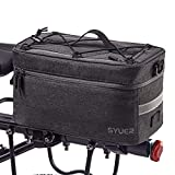 Syuer Bike Rear Pack, Bike Trunk Bag, Bicycle Pannier, Waterproof Cycling Storage Luggage for Warm or Cool Items, with | One Hidden Ball Holder Net, Shoulder Strap, Rain Cover | 8L Capacity (Gray)