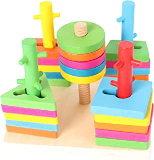 Christmas Gift For Kids Wooden Column Shape Color Geometric Board Toy RH