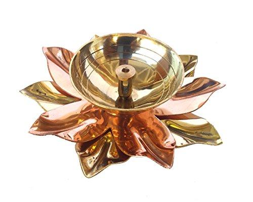 Rastogi Handicrafts Pure Brass & Copper Kamal Lotus Flower Shape Diya Puja Lamp Hindu...