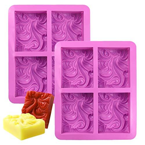Leslady 2 Stück Seifenformen,4 Hohlräume Silikonform Soap Molds Silikon Rechteck Seife Formen Violett, für handgemachte Seife, Eiswürfel, Backen, Schokolade, DIY