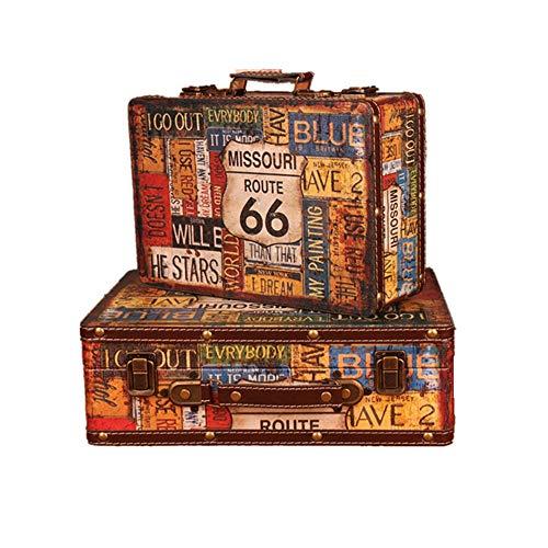 Dfghbn - Maleta de madera con diseño de Keepsake antiguo, caja de joyas, ventana de madera, portátil, visualización de promociones, fotografía y maleta (color multicolor, tamaño: grande + pequeño)