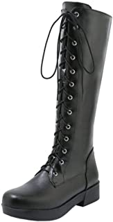 TAOFFEN Women Fashion Knee High Riding Boots Lace Up