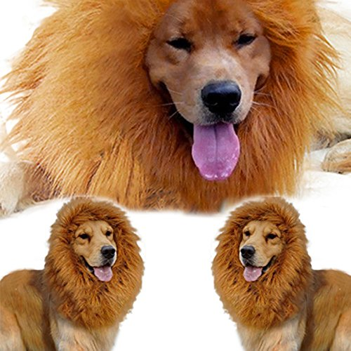 Broadfashion Large Pet Costume Lion Mane Wig for Dog Christmas Halloween Clothes Festival Fancy Dress up by Broadfashion