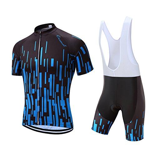 Men's Cycling Jersey Set Road Bike Jersye Short Sleeves Cycling Kits + Bib Shorts with 3D Padded (Large, Black/Blue Stripe)