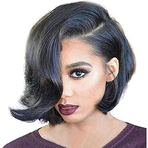 Pruiken Voor Zwarte Vrouwen Kort Krullend Golvend Bobo-Haar Gewone Haarnet Pruik Lijmloze Lace Front Pruiken Haar Van Synthetische Vezels Voor Cosplay Party 28Cm / 11,2