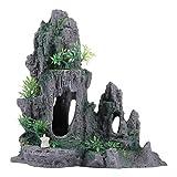 Balacoo - Acuario de vista sobre la montaña, piedra decorativa, diseño de árbol, roca, copa, peces, escondite para acuario, decoración paisaje