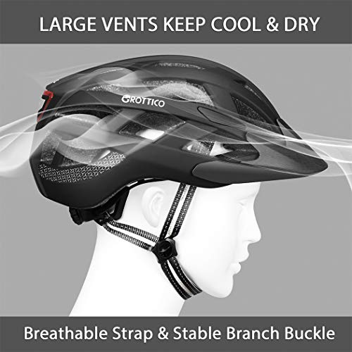 GROTTICO Adult-Men-Women Bike Helmet with Light - CPSC Certified for Mountain Road Bicycle Helmet with Replacement Pads