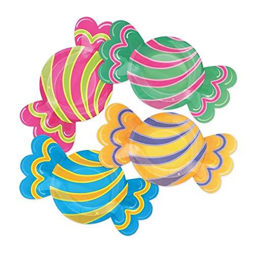 Big Party- Piatti a Forma di Caramelle, Multicolore, 61901
