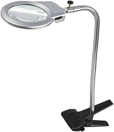 虫眼鏡、クリップスタイルのメタルホース3×5×107 mmジュエリー拡大鏡ランプ2本付きLedライトテーブルデスク本用小プリント